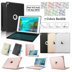 For Apple Ipad 10.2 8th 7th Gen Backlit Bluetooth Aluminum Keyboard Case Cover
