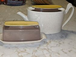 Vintage Red Wing Pottery Turtledove Tea Pot And Butter Dish Mid Century