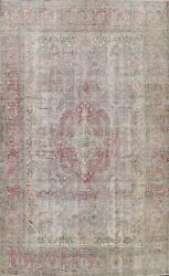 Muted Semi Antique Traditional Evenly Low Pile Area Rug Handmade Distressed 8x11