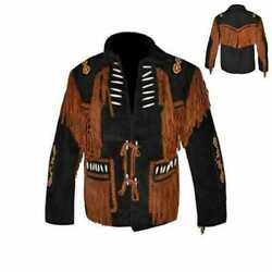 Men Black Cowboy Western Suede Leather Jacket With Fringe And Beads