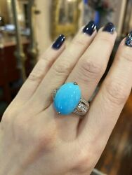 Large Natural Turquoise And Diamond Cocktail Ring In 18k White Gold - Hm2176sb