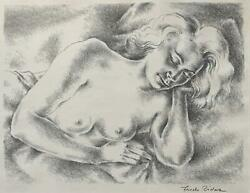 Frede Vidar -sleeping Nude 1952 -signed Lithograph -associated American Artists