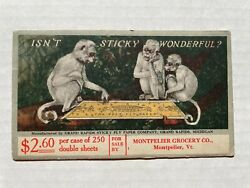 Strange 1920and039s Advertising Blotter For Grand Rapids Fly Paper Company W/ Monkeys