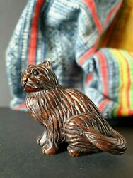 Old Japanese Carved And Signed Wooden Netsuke Cat Andhellipbeautiful Collection Piece