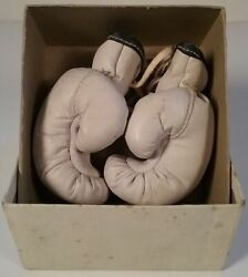 Miniature Leather College Boxing Team Club Gloves Holy Cross Worcester Ma 1940's