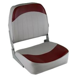Low Back Fold Down Marine Boat Seat Boating Bass Fishing Seat Gray/red Cushion