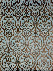 9and039x12and039 Rug   Hand Made Hand Knotted Wool And Silk Lt Blue Brown Area Rug