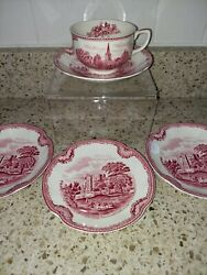 Johnson Brother Old Britain Castles Pink Made In England Cup And Saucer + 3 Saucer