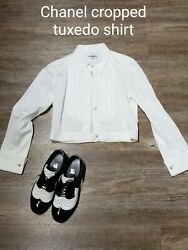Cropped Tuxedo Shirt, White, New And In Perfect Condition