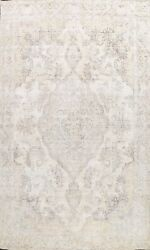 Muted Semi-antique Traditional Distressed Area Rug Evenly Low Pile Handmade 9x13