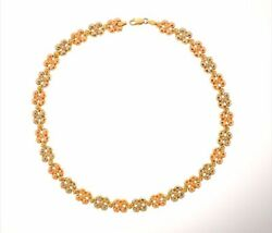 14k Solid Gold Tri Color Flower Stampato Fancy Chain Necklace Choker Floral 17