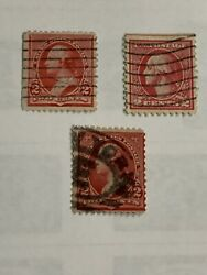 Three Different Variations George Washington 2 Cent Red Postage Stamps Rare Nm