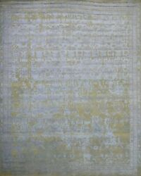 9'x12' Rug | Hand Made Hand Knotted Wool And Viscose High Low Multi Area Rug