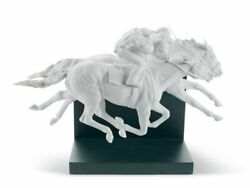 Lladro 01008515 Horse Race Figurine Limited White Porcelain New Free Ship Man