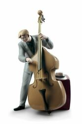 Lladro 01009331 Jazz Bassist Figurine Porcelain Music New Free Ship Gift For Man