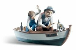 Lladro Fishing With Gramps Figurine 01005215 Porcelain New Free Ship