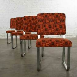 4 Streamline Modern Railroad Dining Car Chairs In Stainless Steel And Orange Abstr