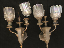 N20v Pair Antique Gas/electric Combo Two Arm Brass Wall Sconces