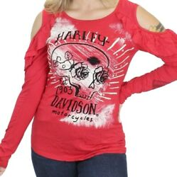 Womens Harley Davidson Small Open Cold Shoulder Red Long Sleeve Shirt Ladies Top $24.99