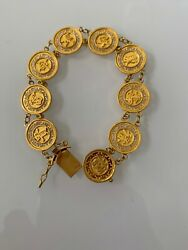 24k Gold Chinese Character 15mm Link Bracelet W Safety Clasp. 23.2 Grams
