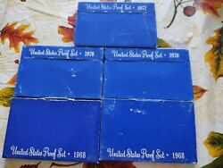 Five U.s. Mint Proof Set Lot - 2-1968, 2-1970 And 1-1972 With Boxes