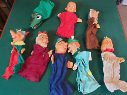 8 Vintage Glove Puppet's,punch And Judy Stle Puppets By Joho Of Germany 1960's.