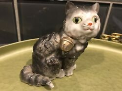 Vintage Ceramic Cat Japan Figurine Bell On Collar Grey Black Green Eyes Whiskers