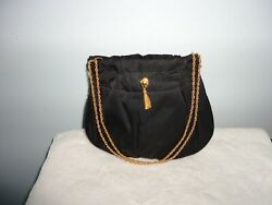 M M Morris Peau De Faille Black Evening Bag Gold Chain Shoulder or Carry $15.70