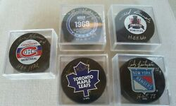 5 Signed Pucks Red Kelly Jean Beliveau Andy Bathgate Lanny Mcdonald Ted Kennedy