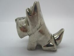 Vintage Art Deco Schnauzer Dog Figurine/shaker removable Tail In Silver Tone