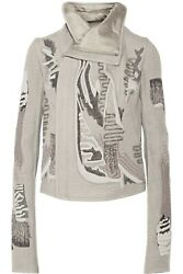 Rick Owens Embroidered Cashmere Long Sleeve Biker Jacket Gray Size It 38/us 4