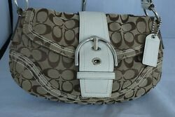 Coach Soho Signature Canvas Khaki Brown White Hobo Small Satchel Handbag Purse $49.99