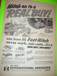 Vintage Farmall International Advertising - Fast Hitch Implements- 1956