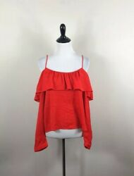 Endless Rose Top Red Women's Long Sleeve Off Shoulder Top Size Small NWT $19.00