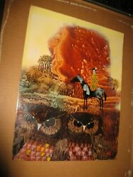 Signed Abstract Landscape Native American Woman On Horse With Two Owls