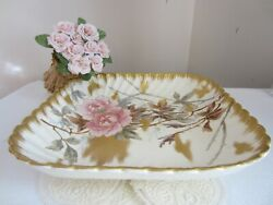 Large Antique Germany 19th C. Porcelain With Gold Dish Bowl Plate Marked Gift
