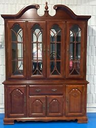 Aico 10-pc Cherry Formal Dining Set Table 2 Leaves 8 Chairs China Cabinet
