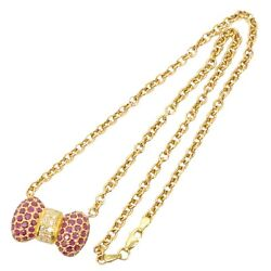 Ruby 3.39ct Diamond 0.46ct Ribbon Necklace Chain Pendant 750 Yellow Gold K18 Red
