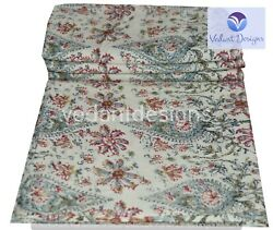 5 Yard Indian Hand Block Cotton Multi-color All Over Print Handcrafted Fabric