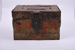 Antique Iron Shopkeeper's Cash Chest Money Box Old Hand Crafted Painted Nh5591