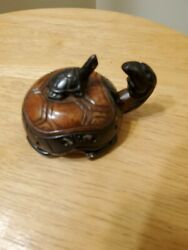 Vintage Signed Stone Japanese Inkwell Pill Box Turtle With Baby Turtle 2.5