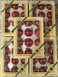 57 Vintage Christmas Ornaments Pyramid Rauch Indust. Usa Red Glass Caldor 1970's