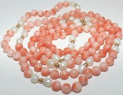 100 Genuine Angel Skin Coral Pearl And 14k Gold Beaded Necklace 33 Vintage