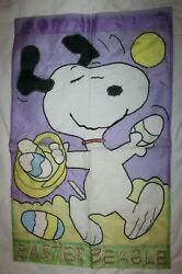PEANUTS Easter Beagle Snoopy Large Flag 28x44quot; #00610 Faded Garden Holiday HTF