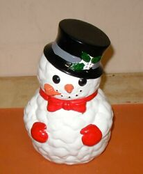 Snowman Cookie Jar Vintage Ceramic Christmas Holiday Table Center Piece Large