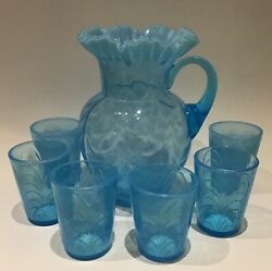 """Fenton """"drapery"""" Mold Blown Ca. 1910 Water Pitcher And Glasses Set Excellent"""