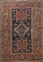 Antique Pre-1900 Vegetable Dye Traditional Geometric Hand-knotted Area Rug 5x6