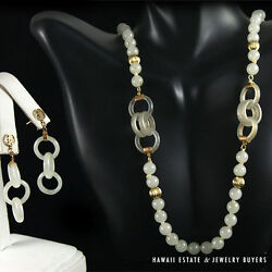 19c Chinese Mutton Fat White Jade Bead And Deviland039s Work Hoops Necklace And Earrings