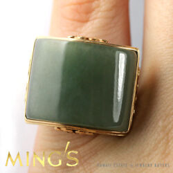 Ming's Hawaii Green Curved Jade 14k Yellow Gold Ring 20.17mm X 17.5mm