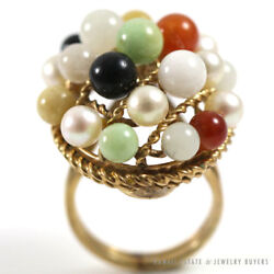 Rare Ming's Hawaii Jade Pearl Wire Cage Ring 14k Yellow Gold Sz 3.25 Mings Jade